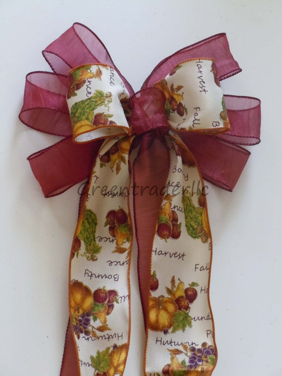 Fall Harvest Thanksgiving Bow Thanksgiving Fruits Bow Fall Autumn Harvest Wreath Bow Burgundy Thanksgiving Decor Fall Holidays Door Hanger