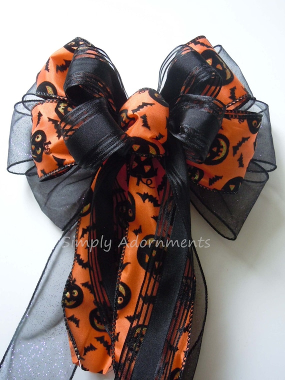 Orange Black Halloween Door hanger Bow Spooky Jack O' Lantern Wreath Door Bow Black Orange Spooky Halloween Wreath Bow Halloween Party Decor