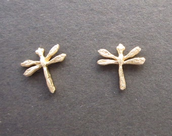 Solid 14k gold dragonfly stud earrings recycled gold handmade in USA