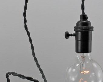 Dark Gray Modern Bare Bulb Pendant Light