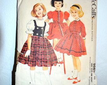 1950s Vintage MCCall's Pattern 5085 Girls Dress and Weskit size 8 chest 26