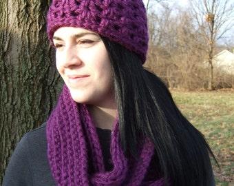 Chunky Crochet Hat, Womens,  Purple, Wine, Grape Lacy- Handmade