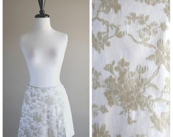 Ivory White Vintage Mini Skirt / 1980s 1990s