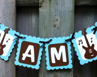 Its a boy rock and roll theme banner baby shower decorations - Rock and roll theme party decorations ...