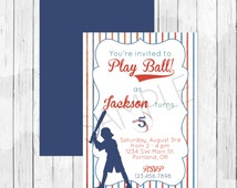Vintage Baseball Theme Party Personalized Birthday Invitation or Evite - Softball Invitation For a Boy or Girl, Double Sided
