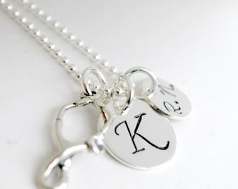 Nurse Necklace Gift for Nurse - Personalized RN Graduation Custom Initial Jewelry Hand Stamped Sterling Silver Custom Nurse Necklace