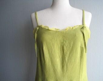Linen Dress , Linen Summer Clothing, Sarafan , Spaghetti Strap , Dress Boho, Bohemian Linen  Dress, Green Linen Dress, Linen Dress XS-S