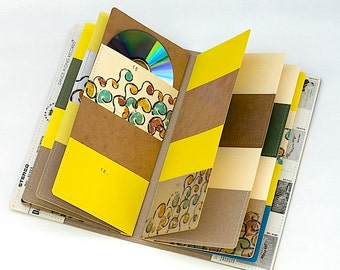 34 CD/ DVD Wallet, CD Holder Art Book Handmade from Upcycled Album Cover- Take It Easy