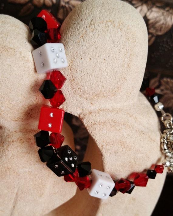 Black, Red, and White Swarovski Dice Bracelet, Gambling, Casino, Harley Quinn Cosplay Jewelry