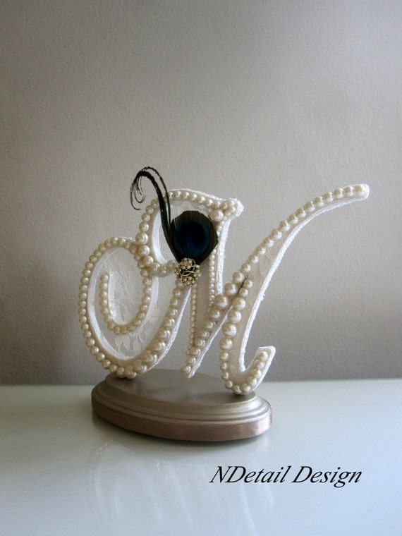 Vintage Monogram Wedding Cake Toppers Items similar to Peaco...