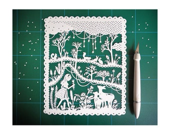 Handcut Paper Illustration - Original Papercut - Girl and Deer in the Meadow