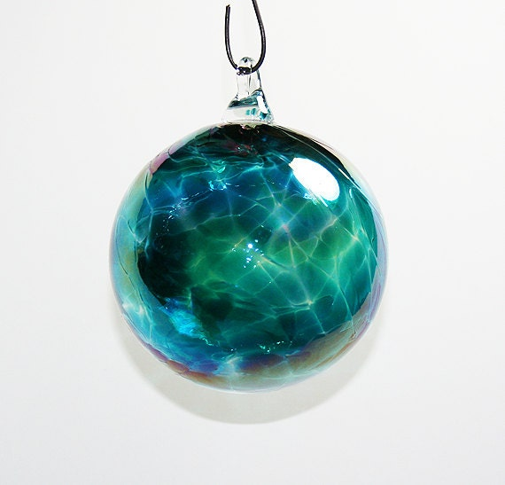 Hand blown glass christmas ornaments teal by kevinfultonglass
