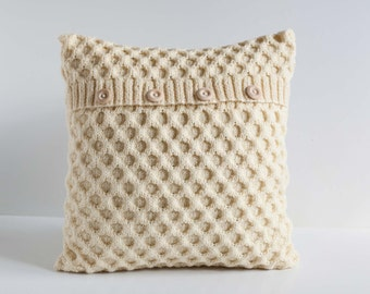 White hand knitted cushion waffle pattern pillow cover with wool   0192
