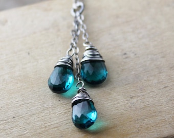 As Seen on The Vampire Diaries, Teal Quartz Necklace, Cascading Teal Quartz in Oxidized Sterling Silver, TVD Necklace