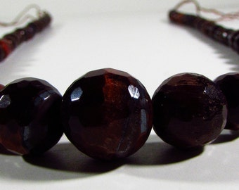Red Tigers Eye Faceted Ball Graduating Beads 6mm - 13mm