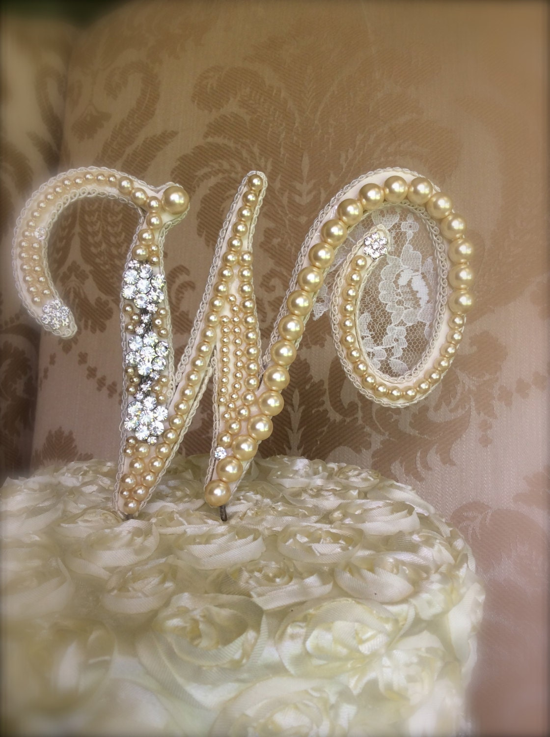 custom monogram wedding cake toppers with lace pears and