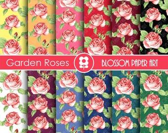 Roses Scrapbook Digital Paper, Rose Digital Paper Floral Scrapbook Paper Pack - INSTANT DOWNLOAD  - 1847