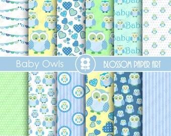 Baby Boy Digital Paper - Scrapbook Owls Digital Paper Blue Green Yellow Papers, Scrapbooking Paper Pack - INSTANT DOWNLOAD - 1865