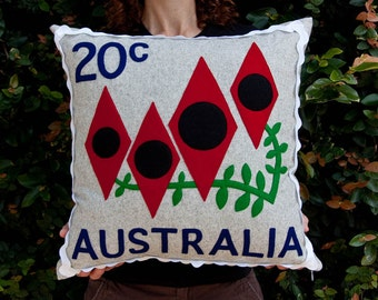 Australian desert pea stamp cushion cover