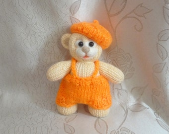 Hand Knit Soft Toy Teddy Bear OOAK