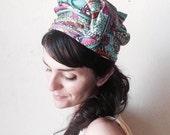 paisley turban pill box/ vintage hat/ 70s//  size 21.5