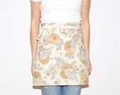 Floral Half Apron in Linen with Grommets