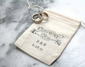 Personalized muslin wedding ring bag.  Rustic ring pillow alternative, ring bearer accessory, ring warming ceremony.  Vintage Ceremony.