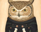 Sweatered Owl Print 8x10