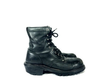 REDUCED~ Black Leather Combat Boots - Steel Toe Combat Boots - Lace Up Boots - Mens 9 - Womens 11