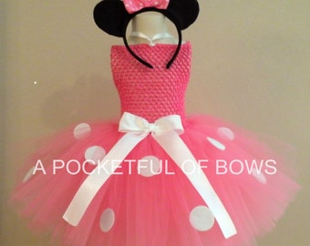 Pink Mouse Tutu Dress, Birthday Dress 1st 2nd 3rd 4th 5th