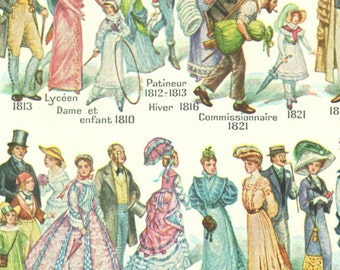 1948 Vintage period dress Vintage costume poster Antique 17th to 20th century Vintage gowns French fashion illustration Period clothing