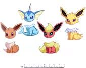 Mix and Match Magnets: Eevee, Vaporeon, Jolteon, Flareon (Pokemon Eeveelutions Set 1)
