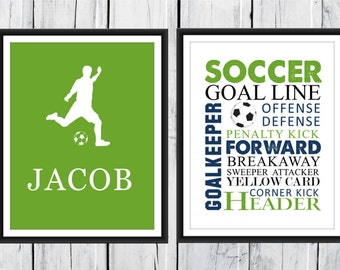 Soccer Word Art Print 2 Piece Set-  Custom Colors and Sizes - Sports Nursery