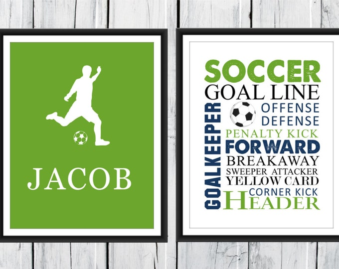 Soccer Word Art Print 2 Piece Set-  Custom Colors and Sizes - Sports Nursery