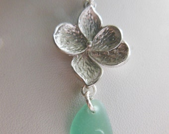 Floral sea glass necklace - sea glass pendant with silver flower - your choice of color.