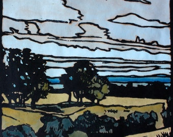 Autumn Afternoon Linocut Print, Australian Landscape, Hand Painted Lino Print