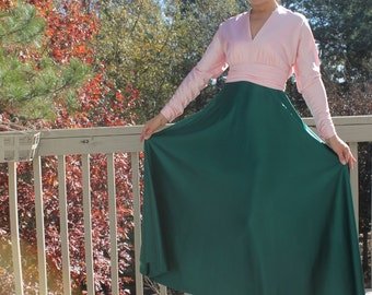 Vintage 70s Pink and Green Evening Gown