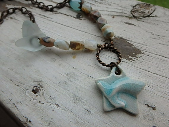 Mythical Mermaid necklace- ceramic mermaid tail. beach glass. light turquoise blue opal. ocean inspired. beach boho jewelry. Jettabugjewelry