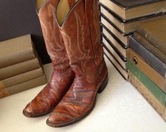 Vtg Leather Texas Cowboy Boots // Mens Size 10