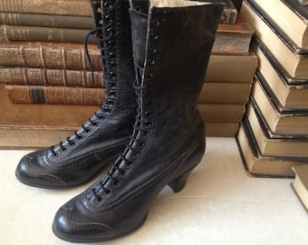 Antique French // 1900s Victorian Steampunk Black Leather High Laced Boots