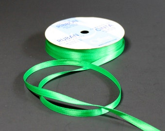 Green Satin Ribbon - Quarter Inch - Double Face - Made By Berwick Offray - Large Roll