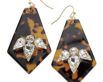 Tortoriseshell earrings, tortoriseshell, tortorise, earrings, jewelry, rhinestone earrings