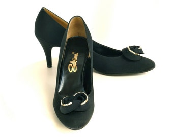 Vintage 50s 60s Stilettos  --  Mad Men High Heels / Pumps  --  Black Satin w/ Rhinestones  --  7.5