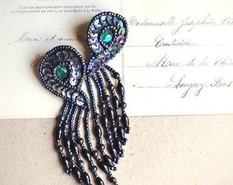 Vintage Black Beaded Earrings