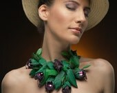 BloomIN - a necklace made by hand.Beadwoven necklace.OOAK necklace.Beadwork with Miyuki Delika,Swarovski Crystals.Bead Dreams 2014 finalist.