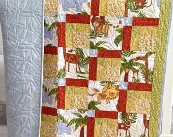 Baby Quilt featuring Jungle Animals Tigers Lions Elephants Blue Brown Grey