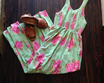 Vintage Smocked Top Maxi Dress in a Floral Rose Print, Mint and Pink