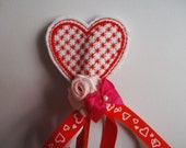 Valentine Pencil - Red and White Pencil - Decorative Gift Pencil - Heart Pencil - Pencil Topper - Felt Pencil - Flower Pencil