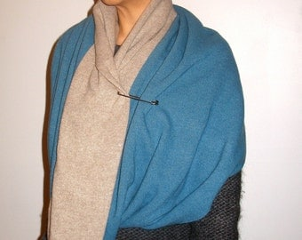 BIG Cashmere Scarf, Double-Face 2-Color Cowl. Large Circle Scarf w/Kilt-Pin. HOLIDAY Gift Under 100.