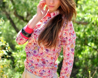 Liberty Print Shirt, Button Down Shirt with Three Quarter Sleeve, Jeweled Cuff, Neon Trim. Floral, Paisley, Liberty of London